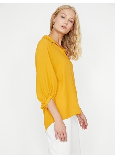 Koton V Yaka Bluz Sarı